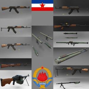 yugoslavian weapon pack rifle 3d obj