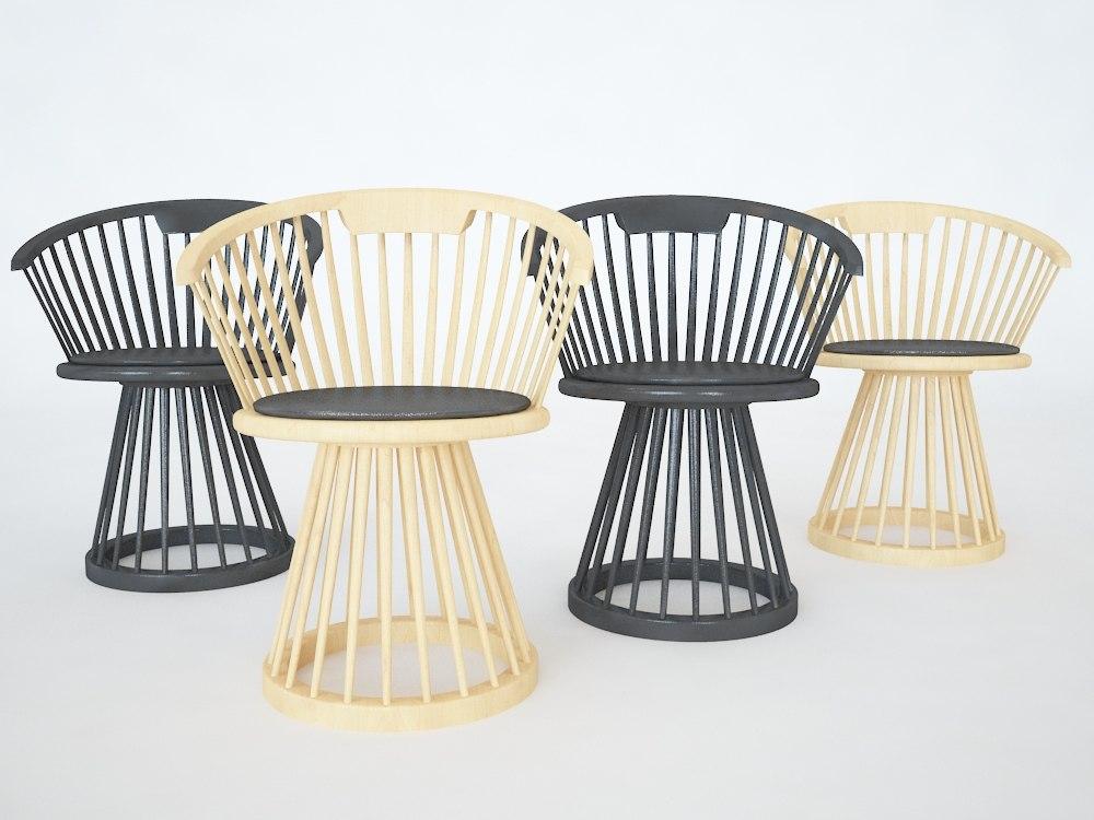 3d model of fan chair dining