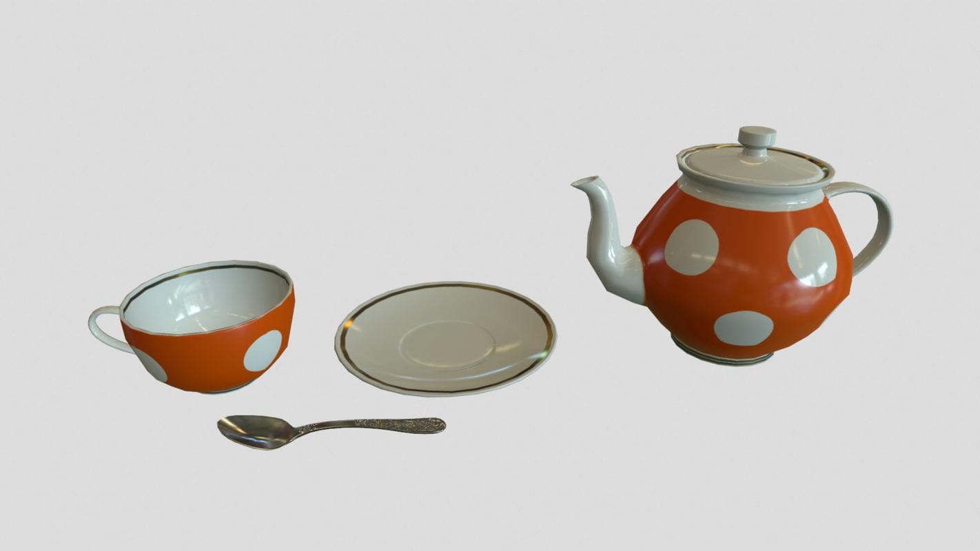 3d set teapot cup model