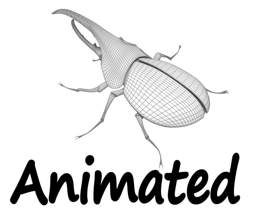 rigged crawling beetle hercules 3d max