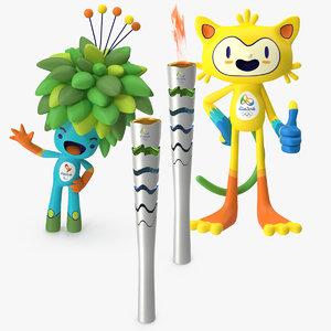 3d 2016 olympics mascots torches