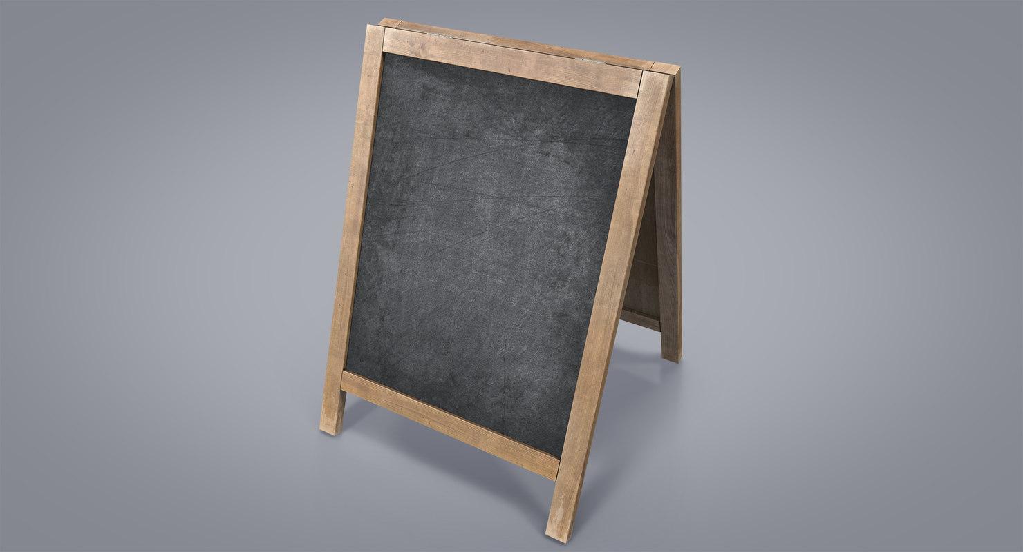 3d model chalkboard board chalk
