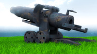 free artillery cannon wwi 3d model