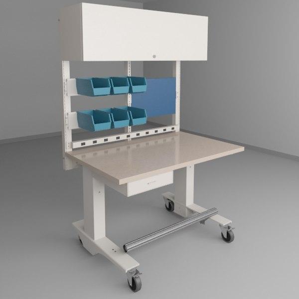 3d height adjustable workbench 2 model