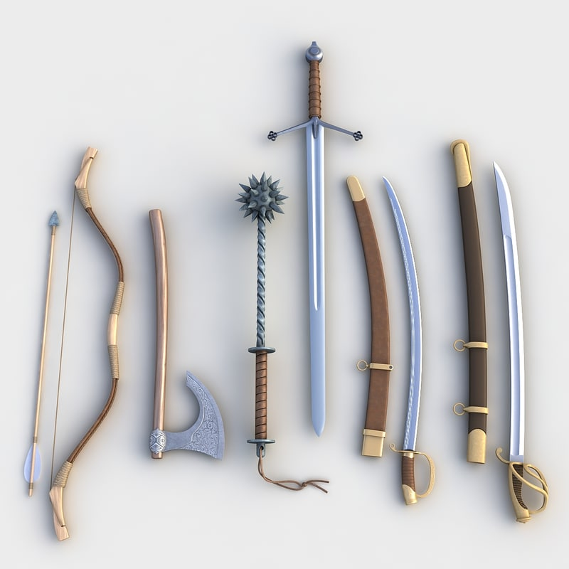 3d model set weapons bow