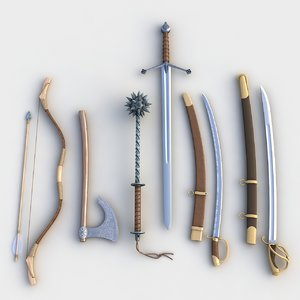3d model set weapons bow