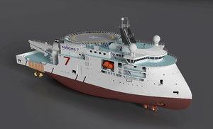 3d seven viking ships