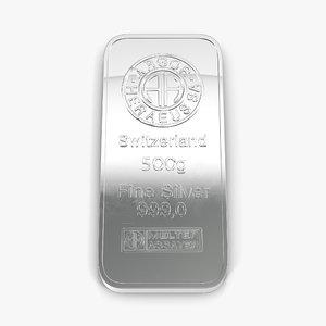 3d silver bar 500g