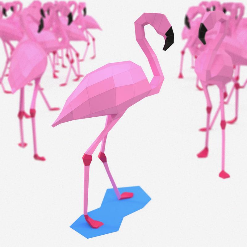 paper flamingo 3d model