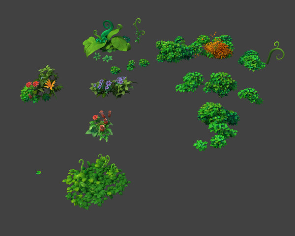 cartoon plant pack 3d model