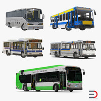 Rigged Buses 3D Models Collection 5