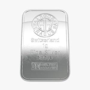 3d model silver bar 1g
