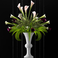 3d flower vase set 2 model
