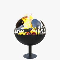 fireplace bonfire corona 3d model