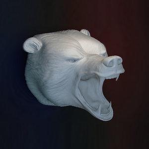 3d model bear head grin