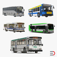 buses 5 bus 3d 3ds