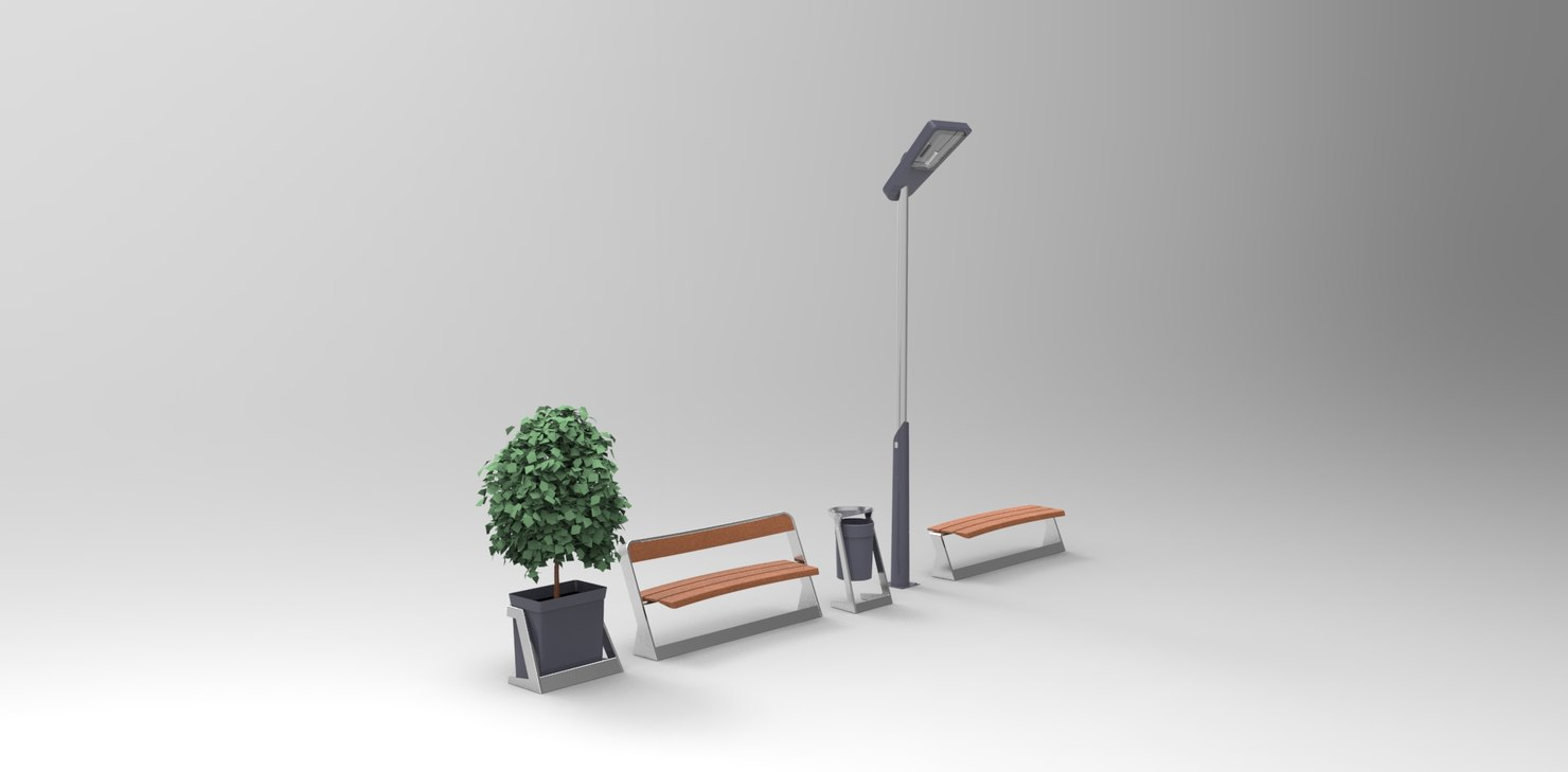 3d model of urban furniture product family