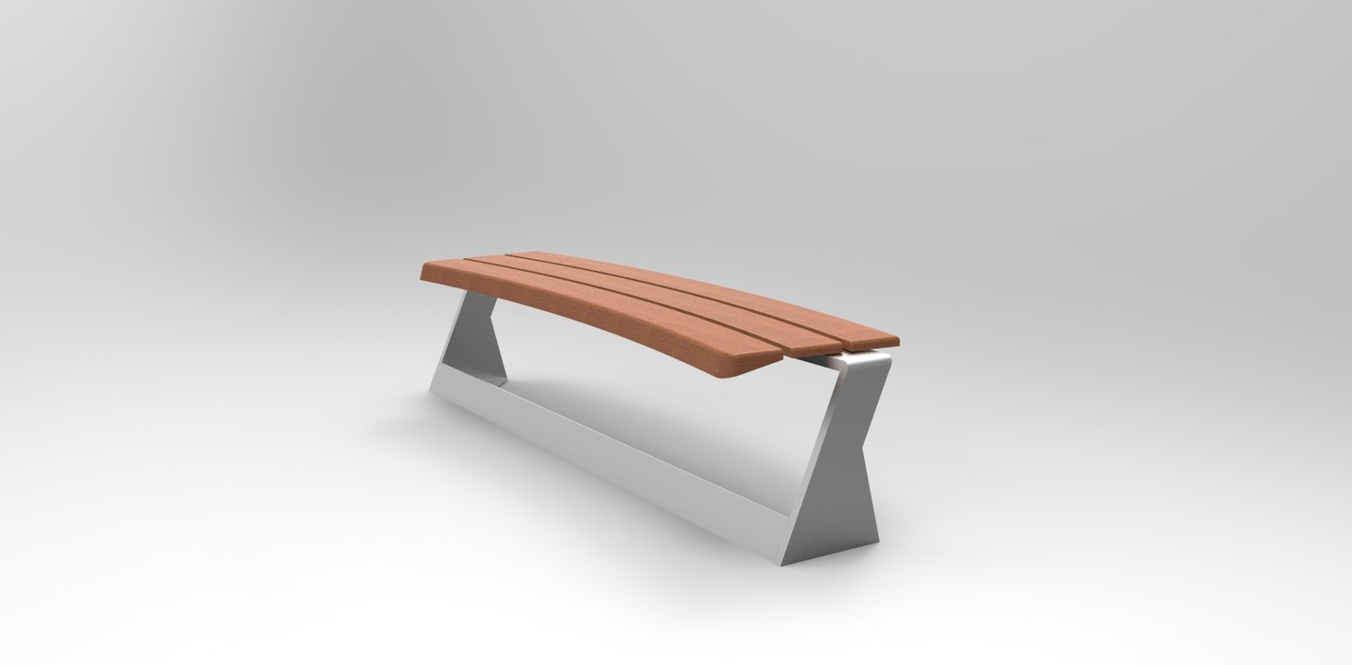 3d 3dm bench backrest modeled