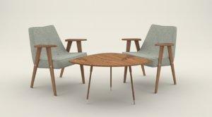 3d model old style furniture set