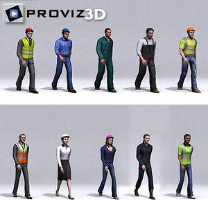 walking workers people 3d model