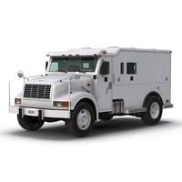 3d armored cash transport car interior model