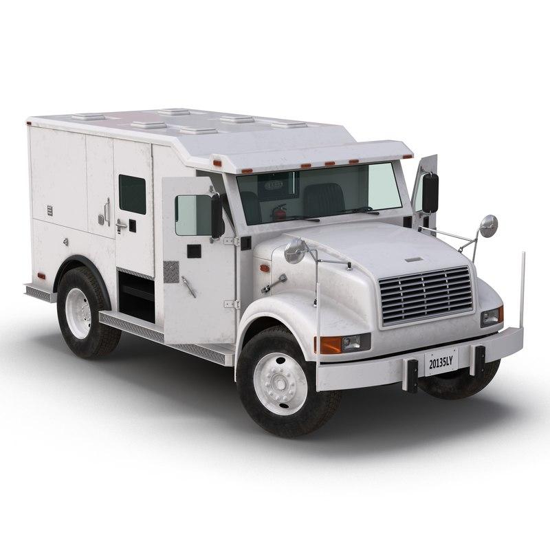 armored cash transport car 3d model