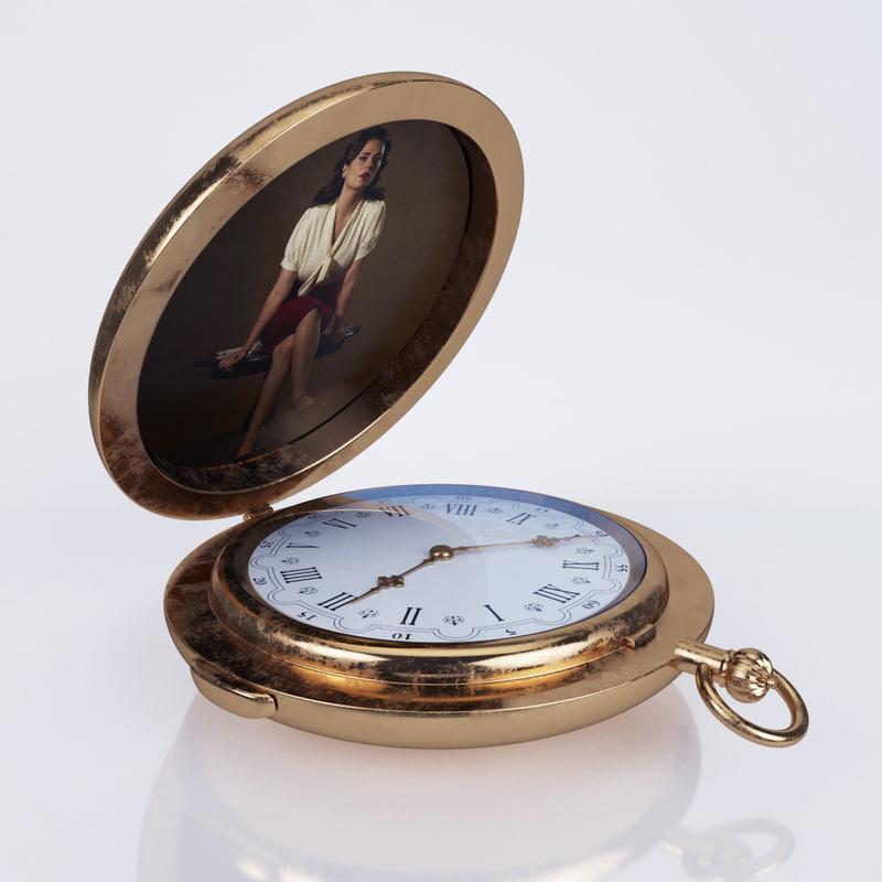 vintage pocket watch 3d model