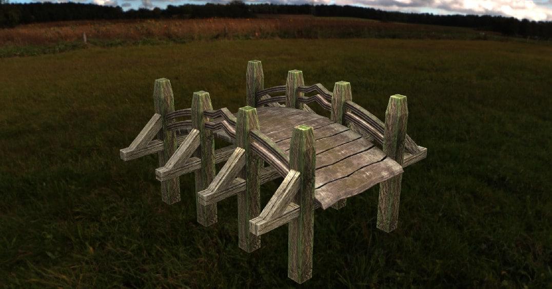 obj wooden bridge village