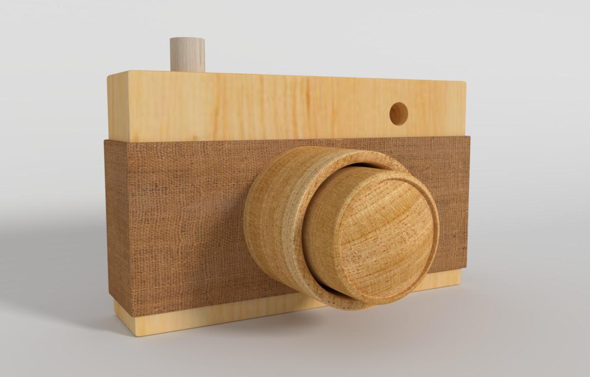 handmade wooden camera obj