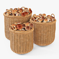 Wicker Basket 07 (Toasted Oat Color) with Mushrooms