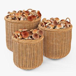 wicker basket mushrooms oat 3d max