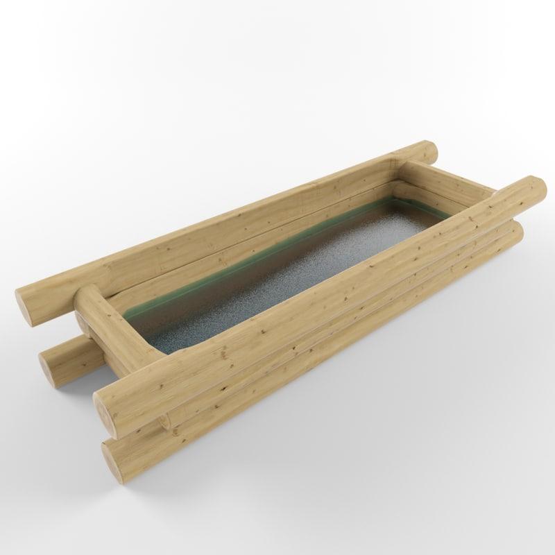 trough wood 3d 3ds