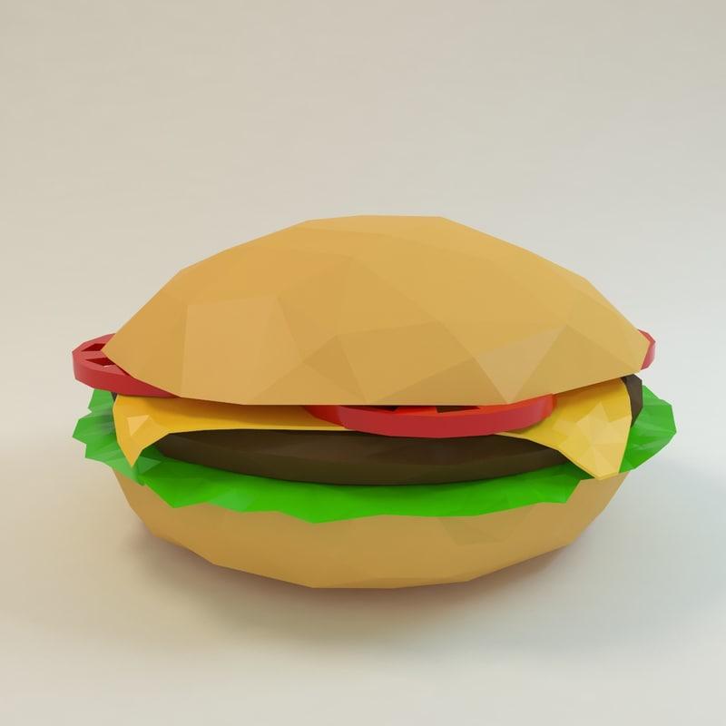 burger hamburger cheeseburger 3d model