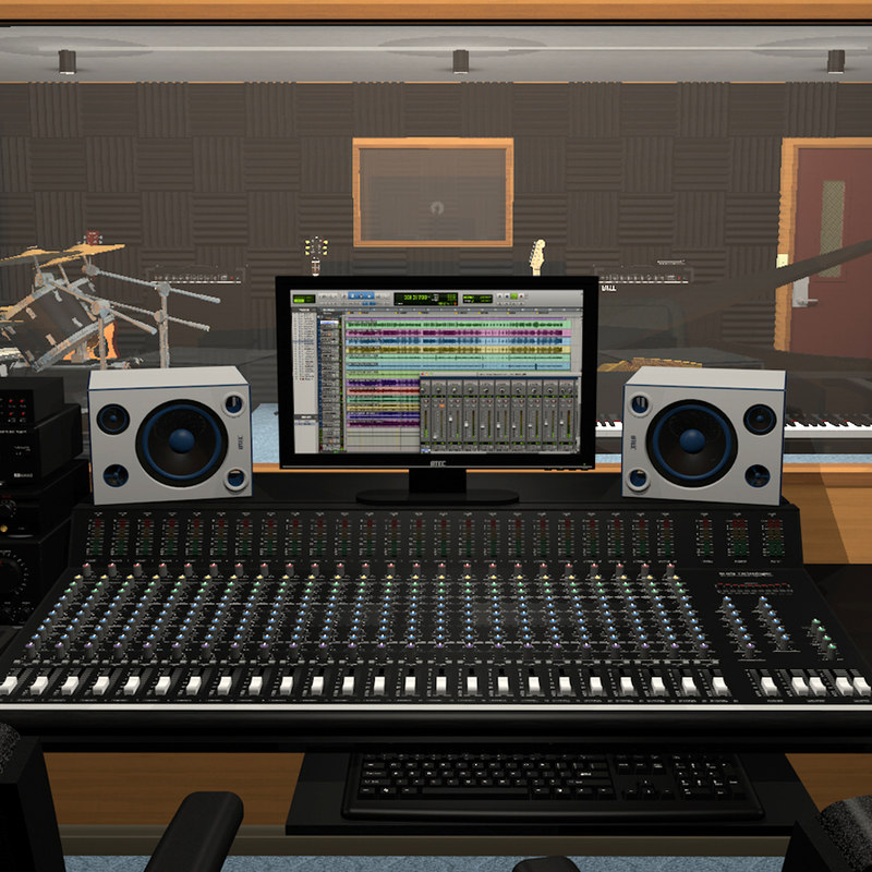 recording studio set 3d c4d