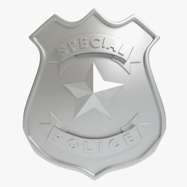 police badge 3d obj