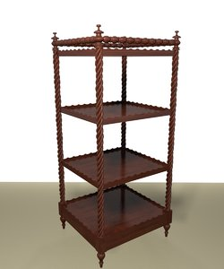 3d model regency mahogany etagere