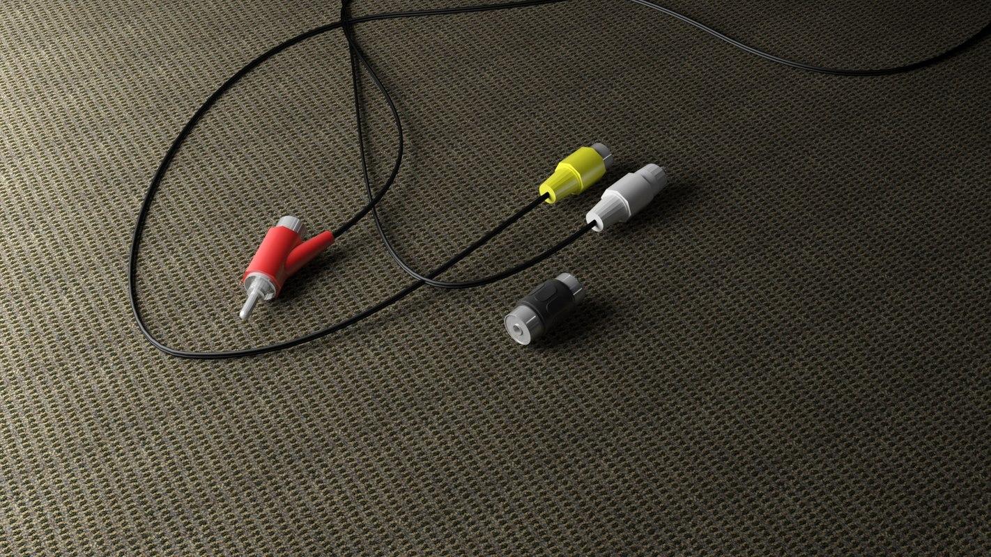 3d model rca cables
