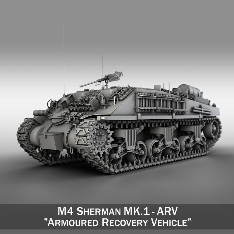 3d model m4 sherman arv tank