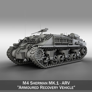 3d model m4 sherman arv tank
