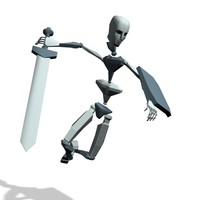Swordman jump swipe attack
