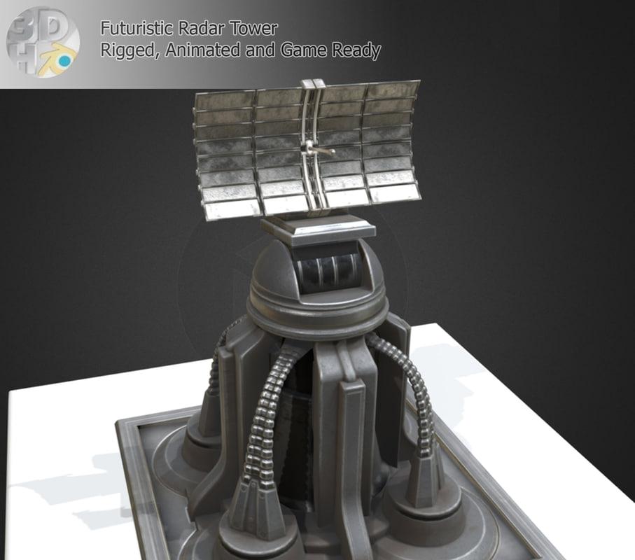 3d model futuristic radar tower