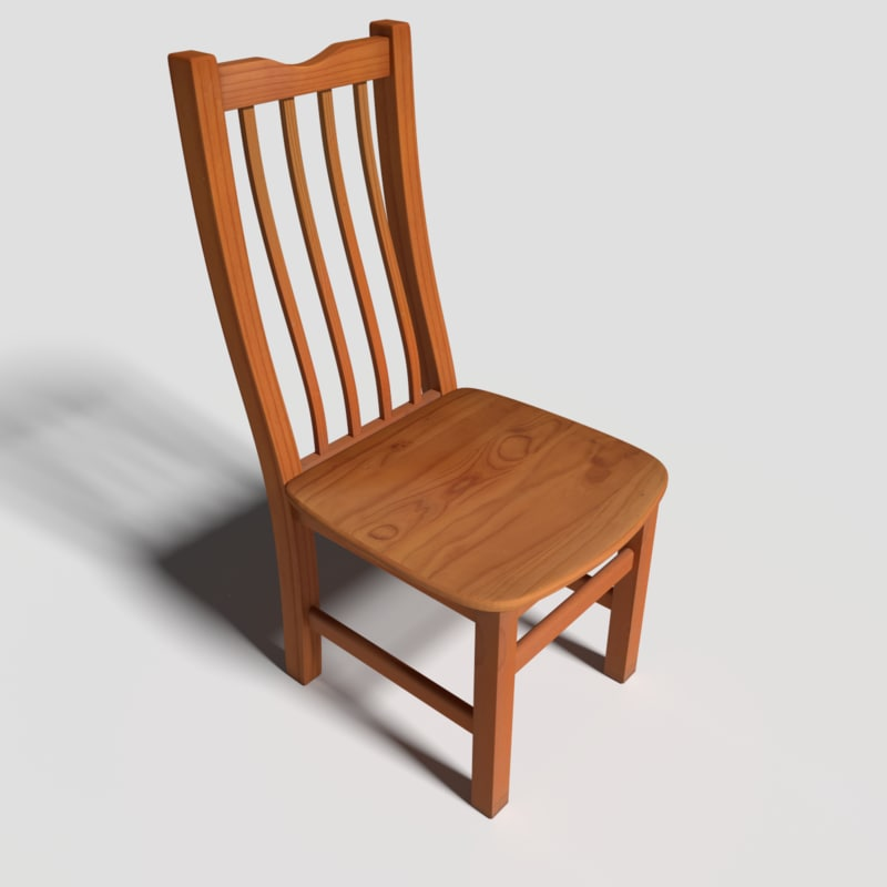wooden dining room chair obj