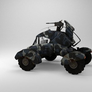 3d model dystopic future combat vehicle