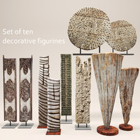 set decorative figurines 3d model