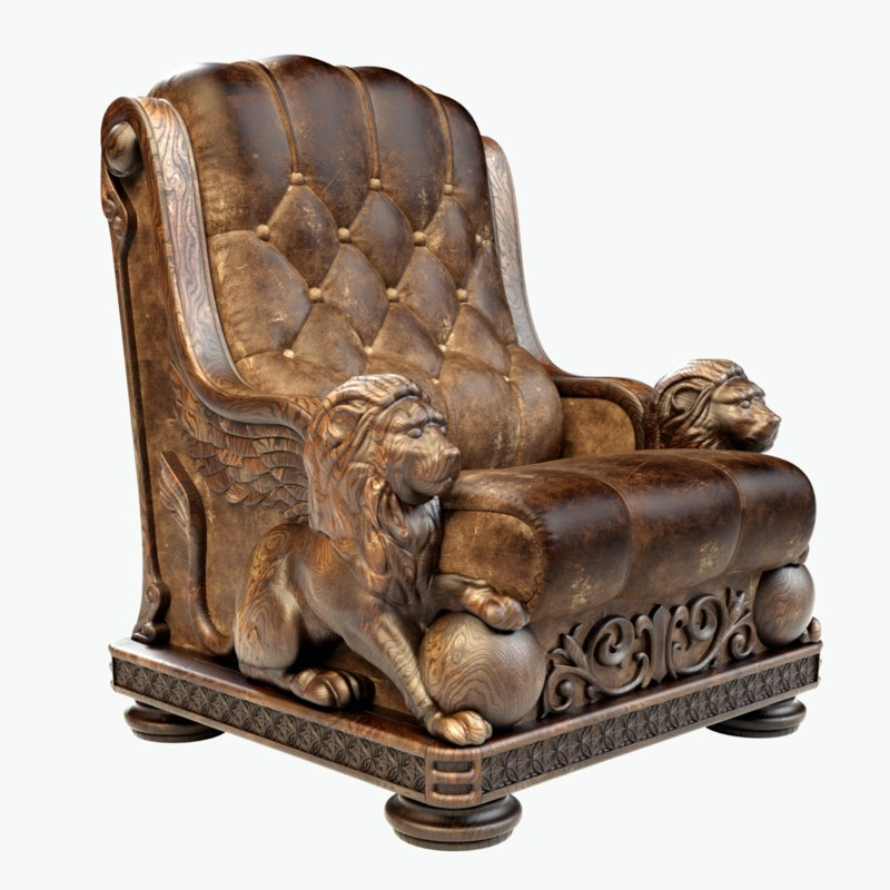 3d model wooden armchair leather