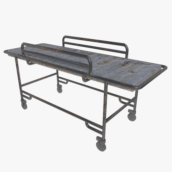 bed hospital old 3d model