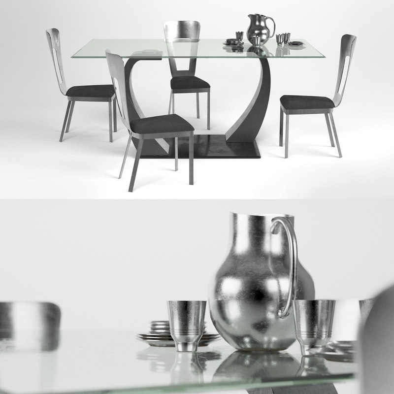 metal dining table 3d model