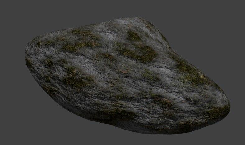 mossy rock 3d blend