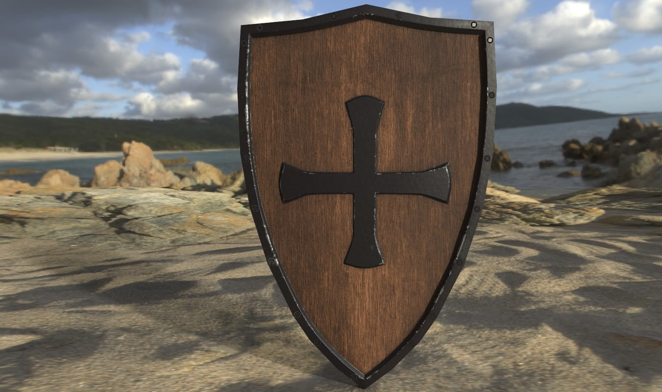 medieval crusader shield obj