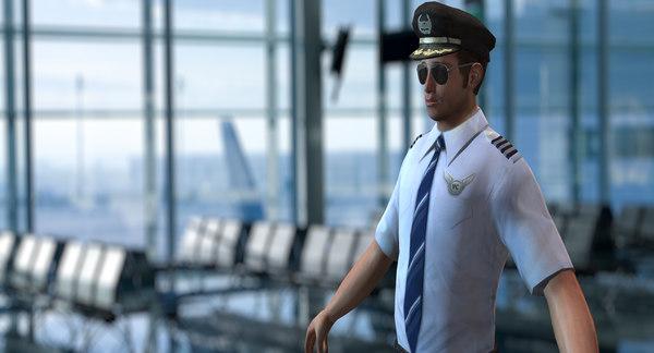 pilot human people 3d obj